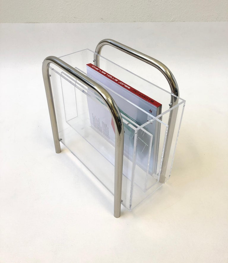 Chrome and Lucite Magazine Holder by Charles Hollis Jones For Sale 1