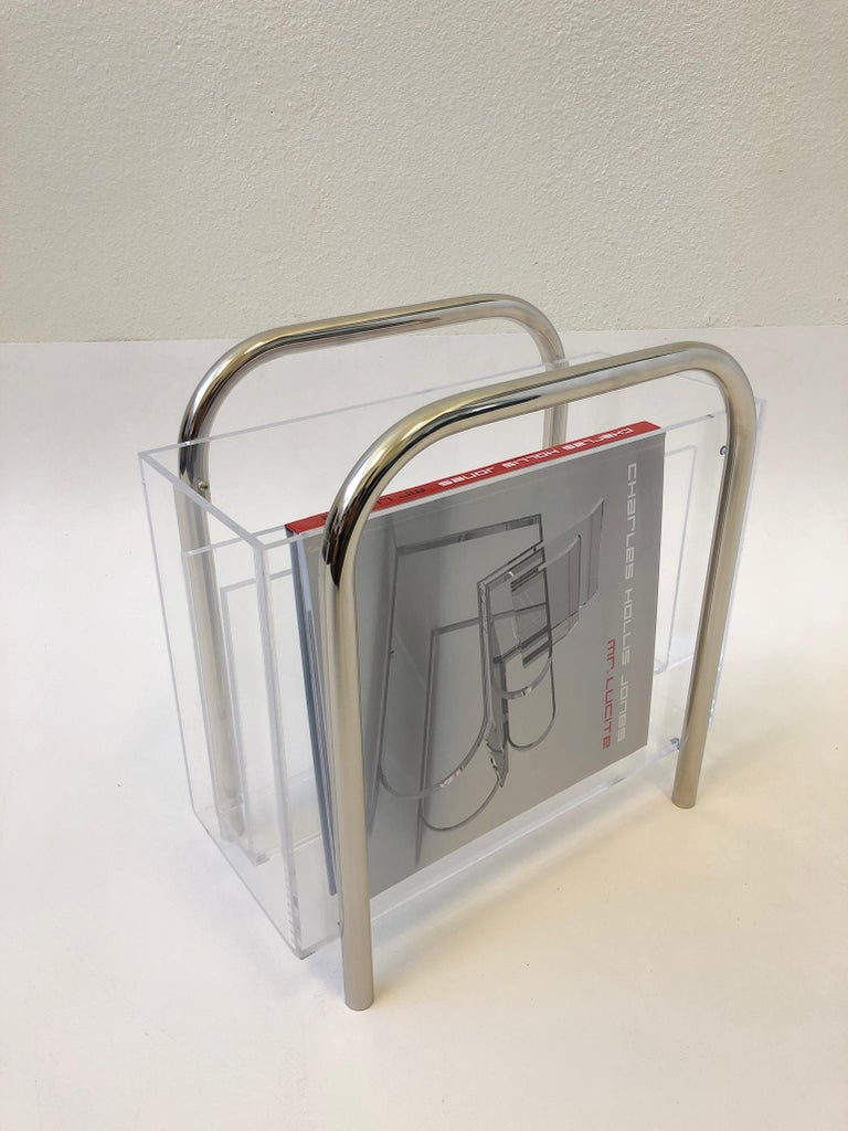 Chrome and Lucite Magazine Holder by Charles Hollis Jones For Sale 2