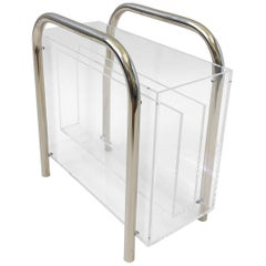 Chrome and Lucite Magazine Holder by Charles Hollis Jones