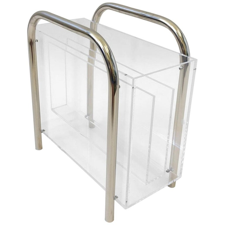 Chrome and Lucite Magazine Holder by Charles Hollis Jones For Sale