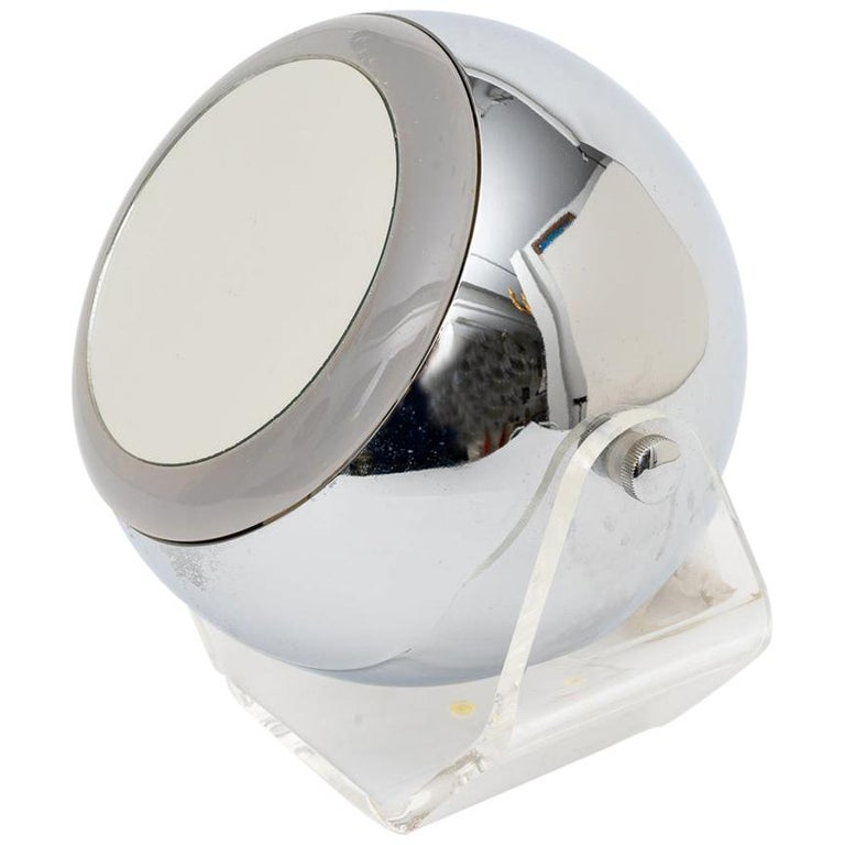 Chrome and Lucite Magnification Mirror For Sale