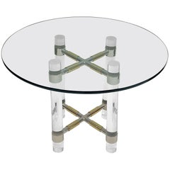 Chrome and Polish Brass Continental Height Table by Charles Hollis Jones