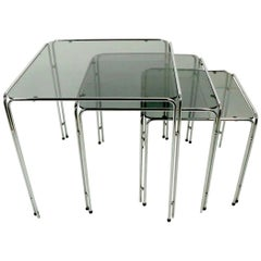 Chrome and Smoked Glass Nesting Tables after Baughman