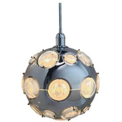 Chrome and Steel Globe Pendant Lamp