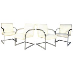 Chrome and Vinyl Dinning Chairs 'Set of 4 in White'