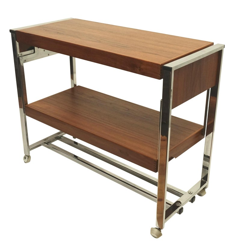 Mid-Century Modern Chrome and Walnut Bar Cart Server, American, circa 1980 For Sale