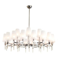 Chrome and White 24 lights Chandelier