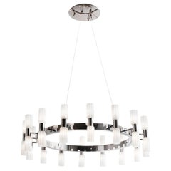 Chrome and White Glass Chandelier