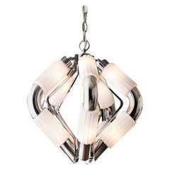 Chrome and White Glass Pendant Lamp