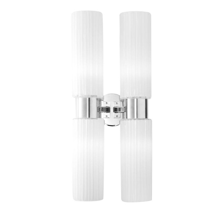 Italian Chrome and White Glass Wall Lamp For Sale