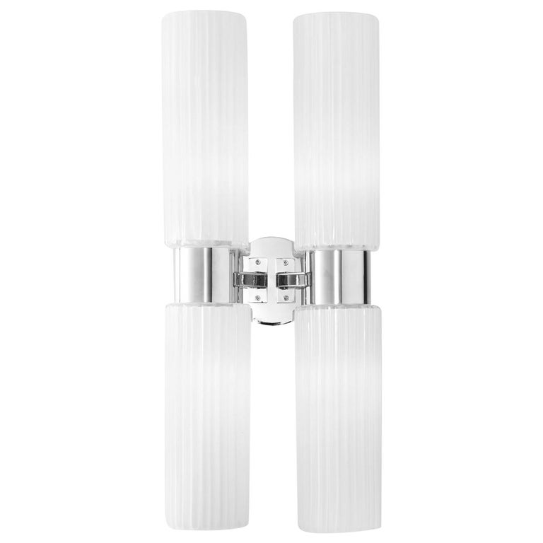 Chrome and White Glass Wall Lamp For Sale