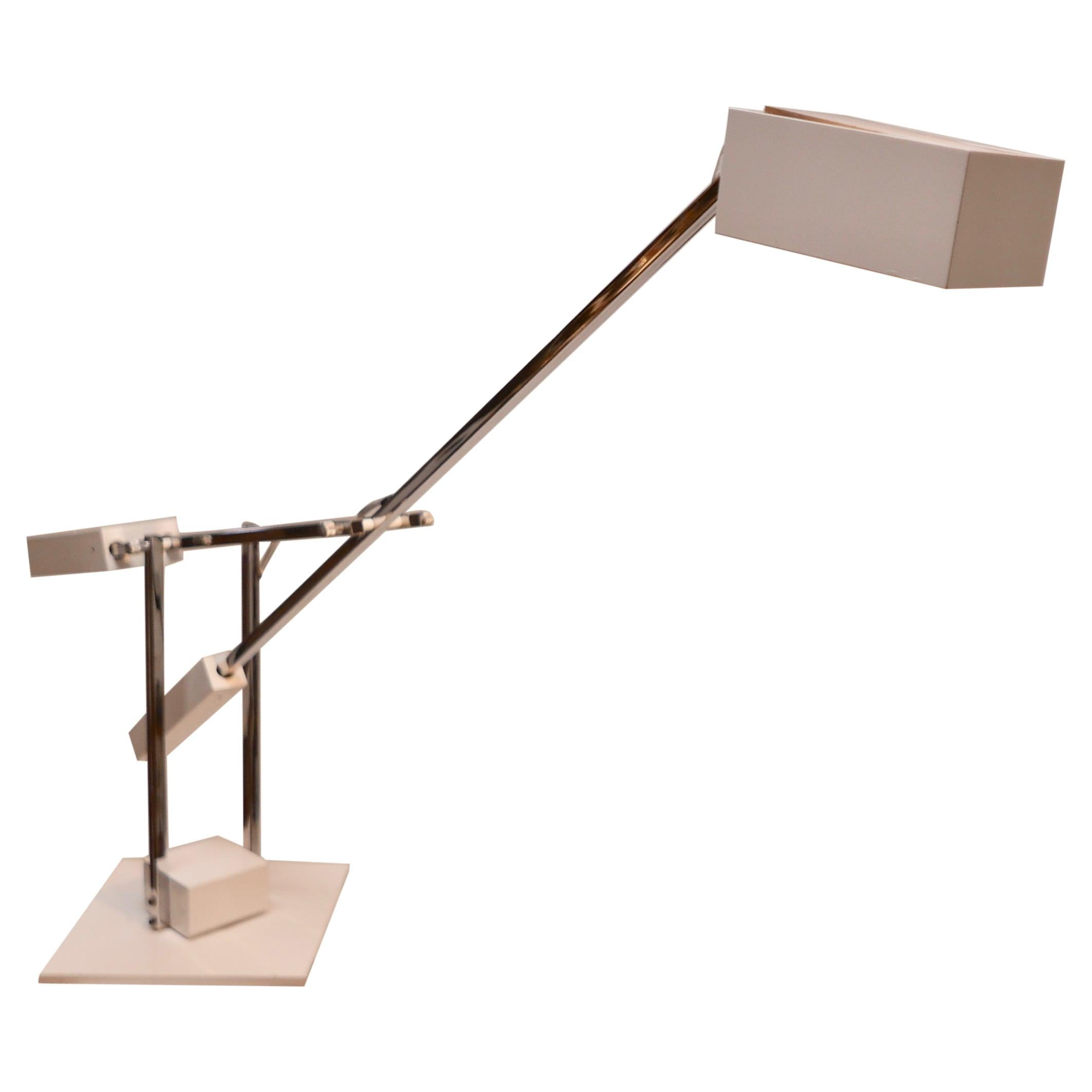 Chrome and White Metal Minimalist Desk Lamp by Designer Robert Sonneman, 1970s