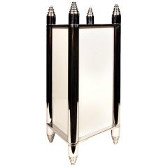 Chrome Art Deco Box Table Lamp or Chandelier