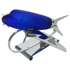 Chrome Art Deco Style DC-3 Airplane Table Lamp with Cobalt Glass Shade
