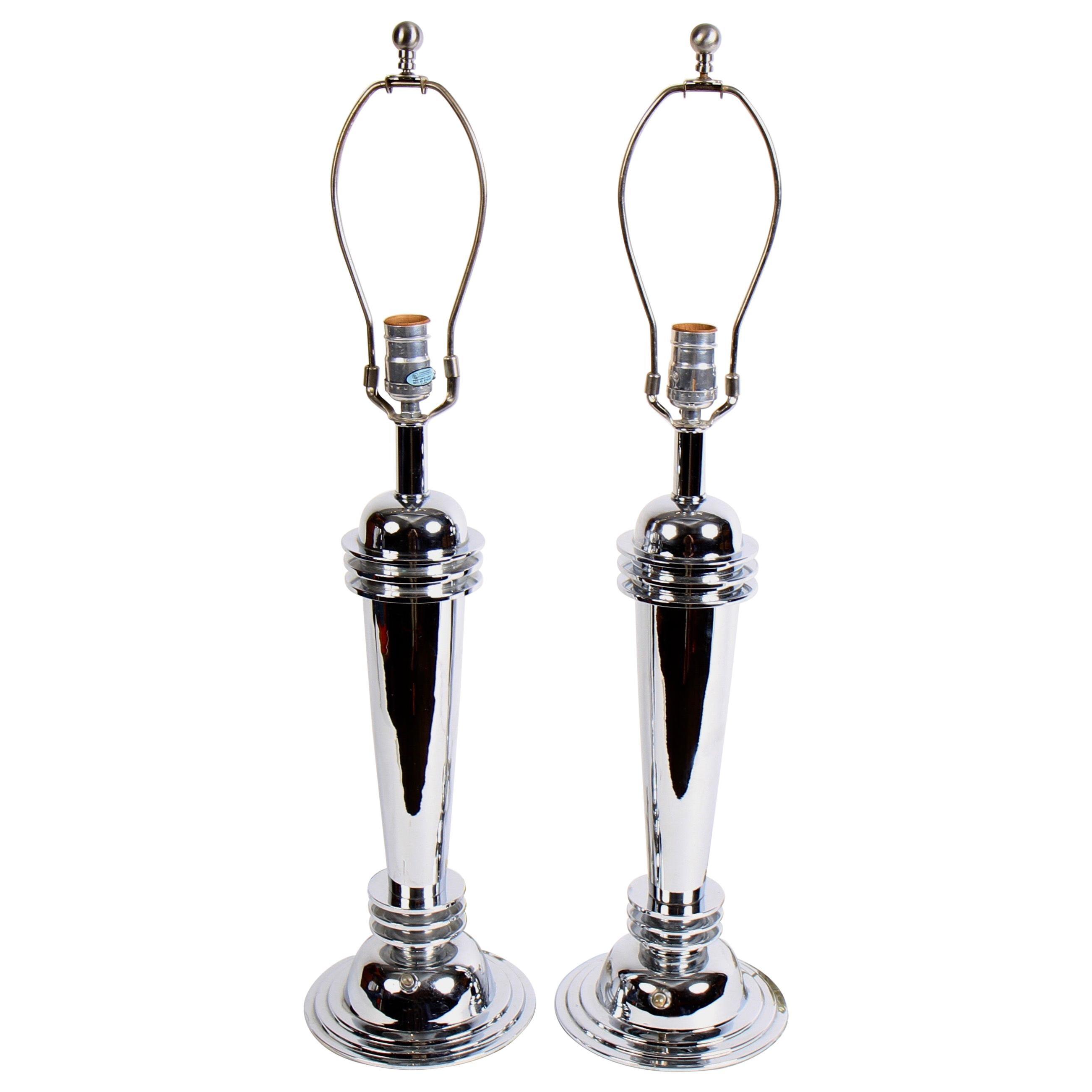 Chrome Art Deco Table Lamps