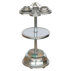 Chrome Art Deco Two-Tier Ashtray Stand with Electric Lighter
