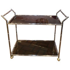 Chrome Bamboo Bar Cart with Black Smoked Glass
