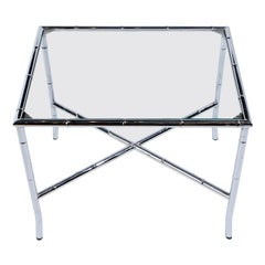 Chrome Bamboo & Glass End Table