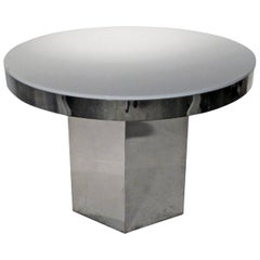 Chrome Band & White Lucite Round Top Dining/Game/Center Table with Hexagon Base