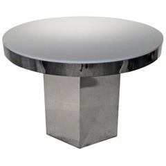 Chrome Band & White Lucite Top Dining/Game/Center Table with Chrome Hexagon Base
