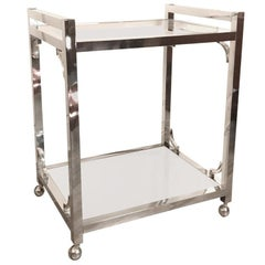 Chrome Bar Cart in the Style of Milo Baughman