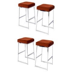 Chrome Bar Stools in the Style of Milo Baughman