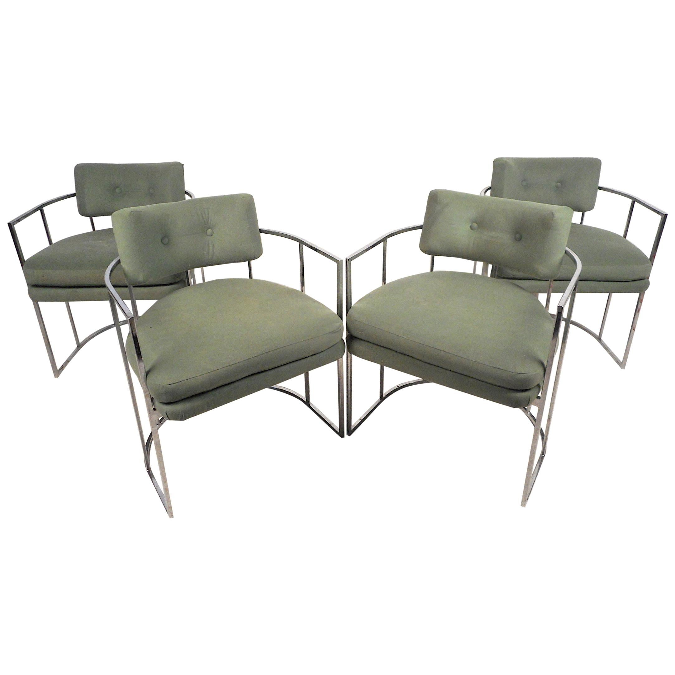 Chrome Barrel Back Dining Chairs by Milo Baughman, Set of 4