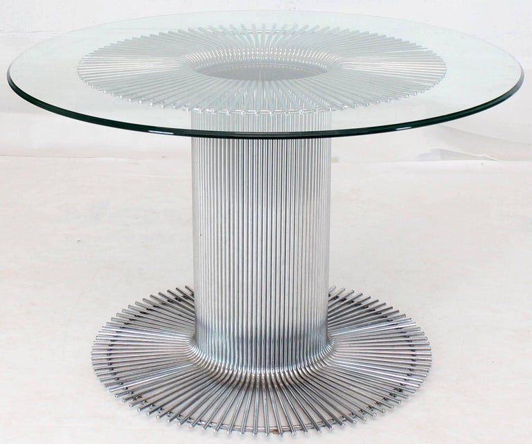 Chrome Base Glass Top Round Dining Table For Sale 5