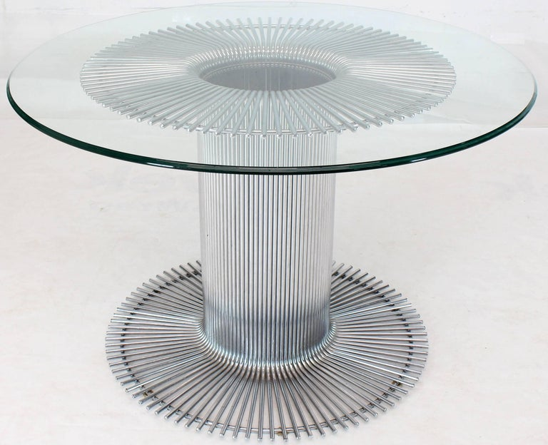 Chrome Base Glass Top Round Dining Table For Sale 6