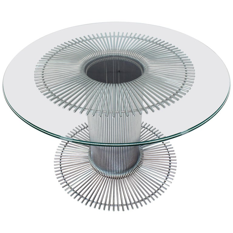 Chrome Base Glass Top Round Dining Table For Sale