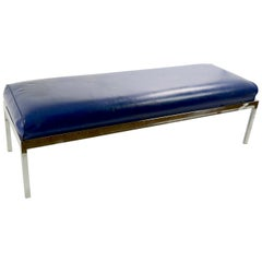Chrome Base Upholstered Bench after Milo Baughman