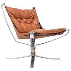 Chrome Based Cognac Leather Sigurd Ressell Designed 1970s Falcon Chair, 1970s