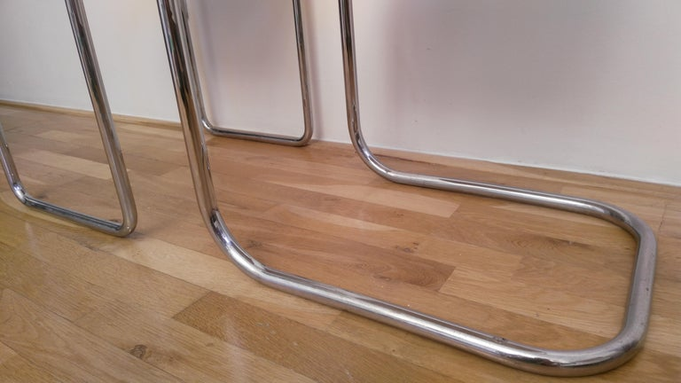 Mid-20th Century Chrome Bauhaus Mart Stam Chair and Stool, 1930s For Sale