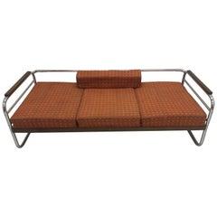 Chrome Bauhaus Robert Slezák 3-Seat Sofa, 1940s