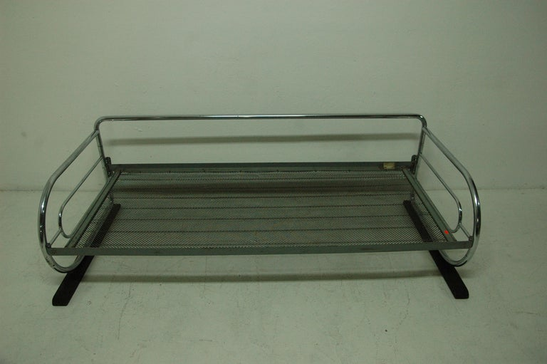 Chromed, tubular steel sofa from the Bauhaus period, 1930s, Bohemia. Made by Slezák company. Chrome is in good Vintage condition, bears signs of aging and use, but overall in very good condition. The wooden slat in the front part shows signs of age