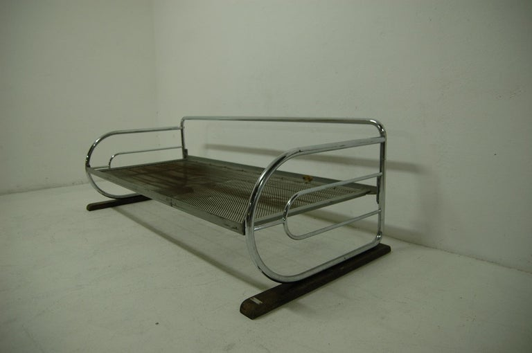 Fabric Chrome Bauhaus Sofa by Robert Slezák, Bohemia, 1930s For Sale