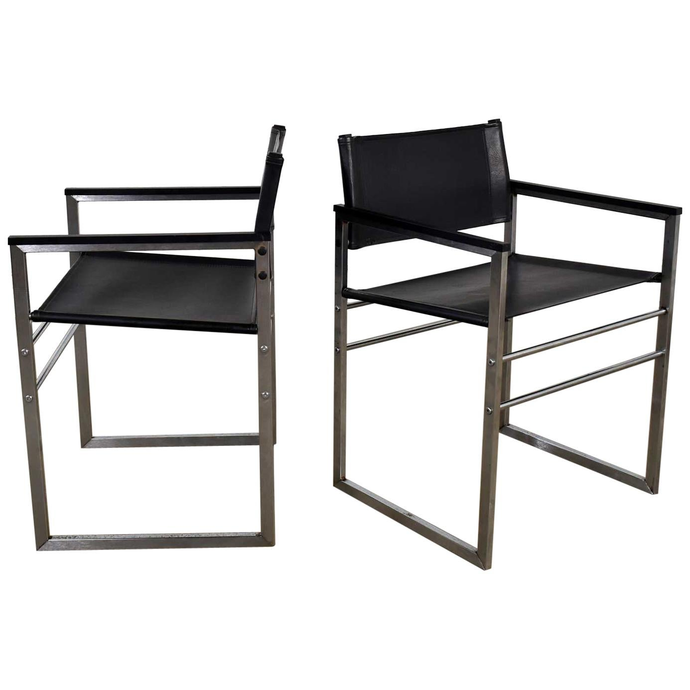 Chrome & Black Vinyl Faux Leather Sling Director's Chairs Straight Legs, a Pair