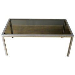 Chrome, Brass and Smoked Glass Coffee Table by Romeo Rega, circa 1970