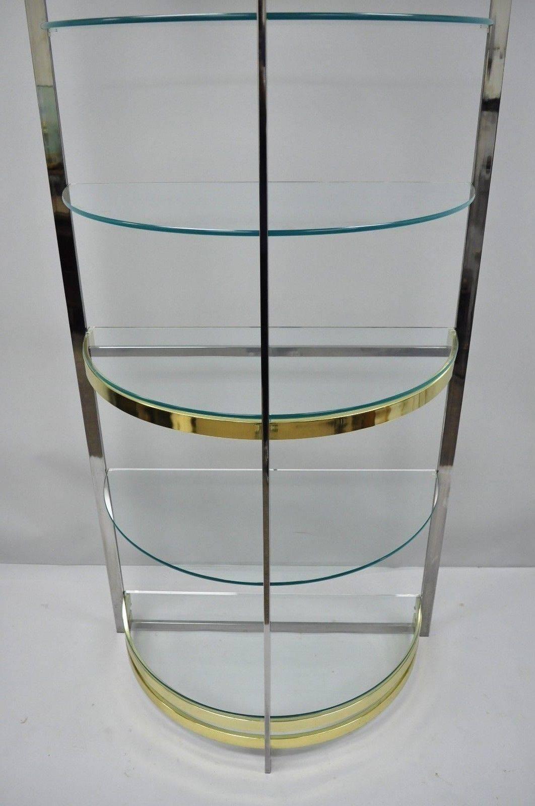 Chrome Brass Glass Demilune Etagere Half Round Mid Century