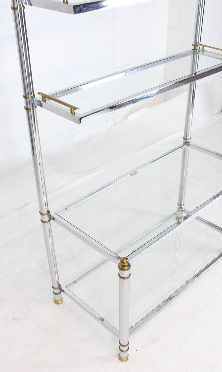 Chrome Brass Glass Mid-Century Modern Bakers Rack Étagère For Sale 4