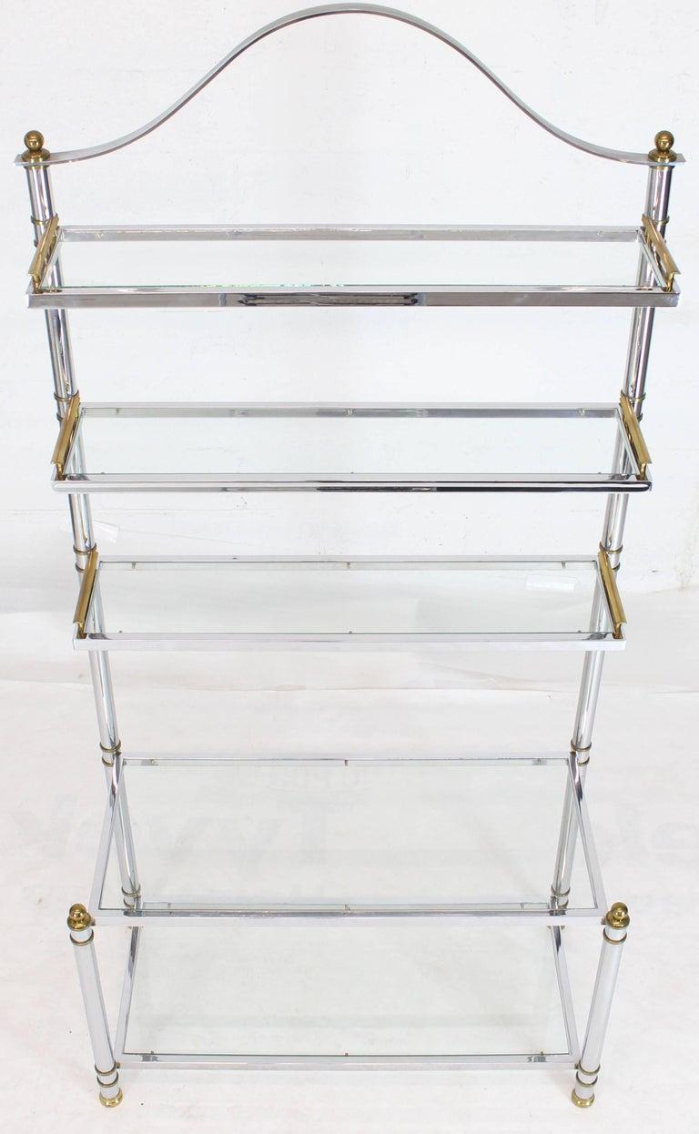 Chrome Brass Glass Mid-Century Modern Bakers Rack Étagère For Sale 5