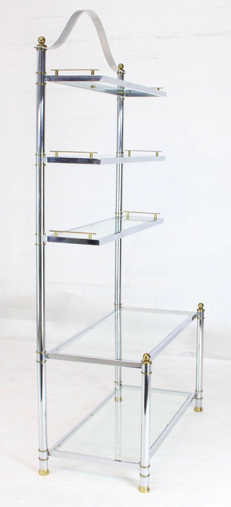 Chrome Brass Glass Mid-Century Modern Bakers Rack Étagère For Sale 6