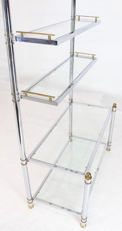 Chrome Brass Glass Mid-Century Modern Bakers Rack Étagère For Sale 7