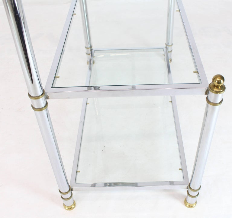Chrome Brass Glass Mid-Century Modern Bakers Rack Étagère For Sale 8