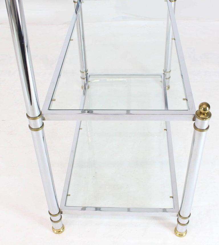 Chrome Brass Glass Mid-Century Modern Bakers Rack Étagère For Sale 9