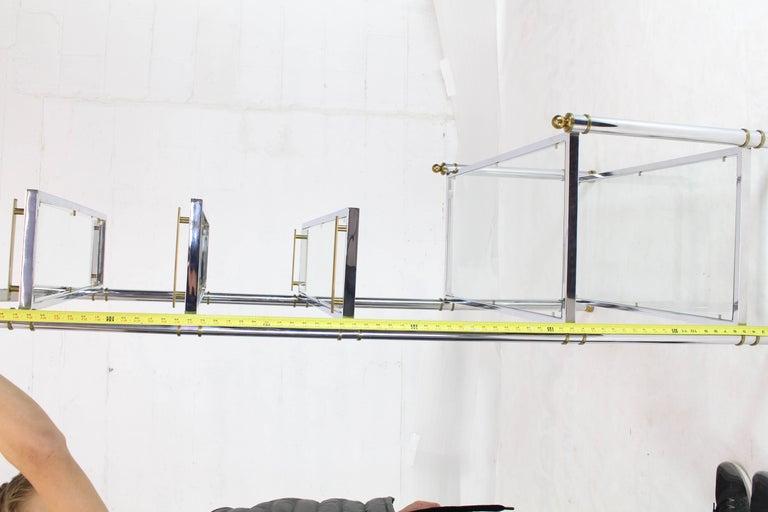 Chrome Brass Glass Mid-Century Modern Bakers Rack Étagère For Sale 13