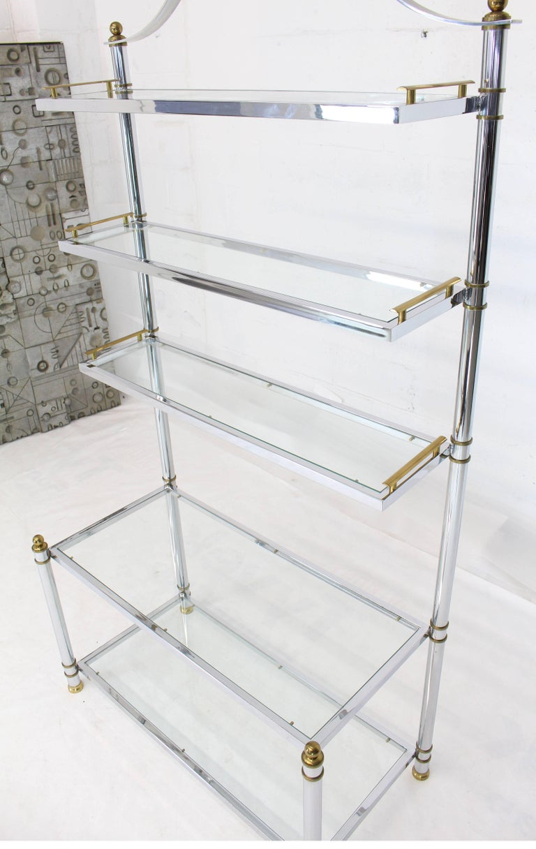 Mid-Century Modern chrome glass brass bakers rack or étagère storage shelves display.