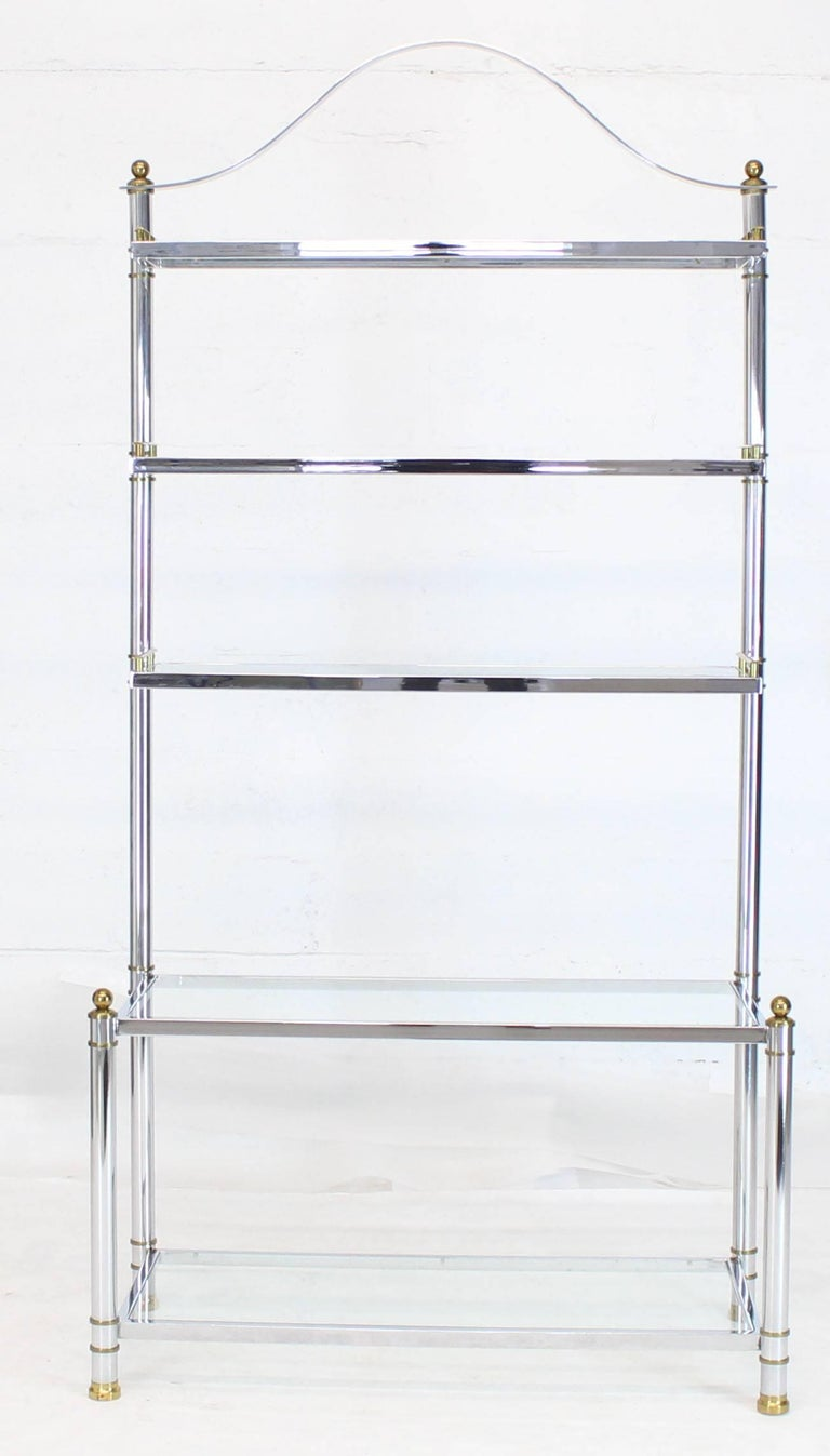 American Chrome Brass Glass Mid-Century Modern Bakers Rack Étagère For Sale