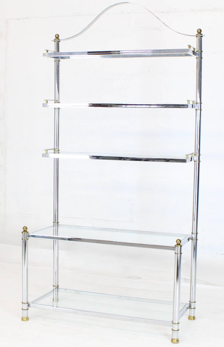 Polished Chrome Brass Glass Mid-Century Modern Bakers Rack Étagère For Sale