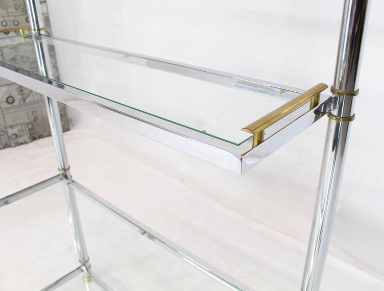 Chrome Brass Glass Mid-Century Modern Bakers Rack Étagère In Excellent Condition For Sale In Rockaway, NJ